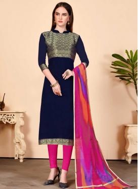 Navy Blue and Rose Pink Churidar Salwar Kameez For Casual
