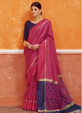 Navy Blue and Rose Pink Contemporary Saree