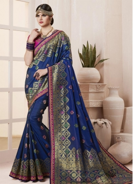 Navy Blue and Rose Pink Contemporary Style Saree