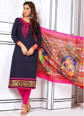 Navy Blue and Rose Pink Cotton Churidar Suit