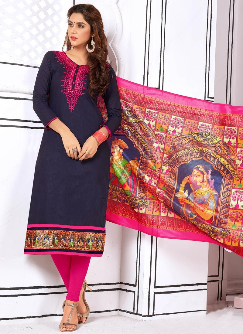b6927d8023 Buy Navy Blue and Rose Pink Cotton Churidar Suit Online
