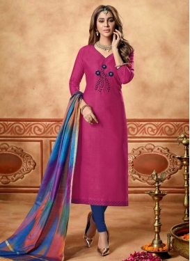 Navy Blue and Rose Pink Cotton Trendy Churidar Suit