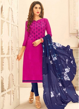 Navy Blue and Rose Pink Cotton Trendy Straight Suit