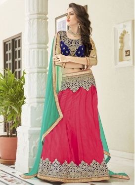 Navy Blue and Rose Pink Embroidered Work A - Line Lehenga