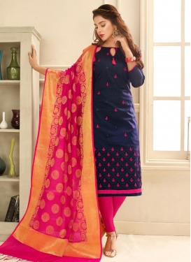 Navy Blue and Rose Pink Embroidered Work Churidar Salwar Suit