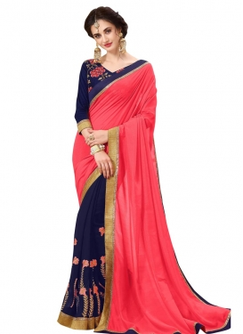 Navy Blue and Rose Pink Embroidered Work Half N Half Trendy Saree