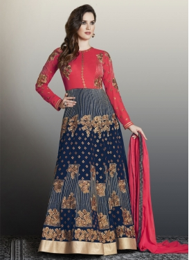 Navy Blue and Rose Pink Faux Georgette Trendy Salwar Kameez