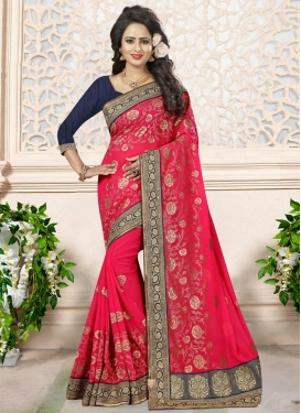 Navy Blue and Rose Pink Georgette Contemporary Style Saree