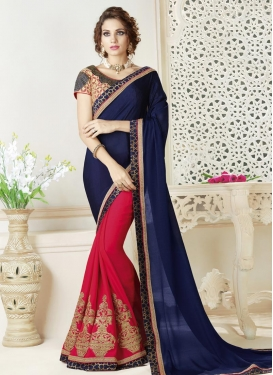 Navy Blue and Rose Pink Half N Half Trendy Saree For Ceremonial