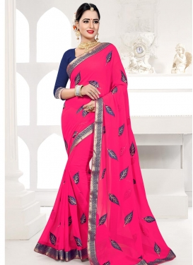Navy Blue and Rose Pink Lace Work Contemporary Saree
