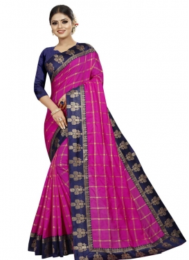 Navy Blue and Rose Pink Lace Work Contemporary Style Saree