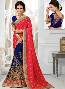 Navy Blue and Rose Pink Pure Georgette Designer Half N Half Saree For Bridal