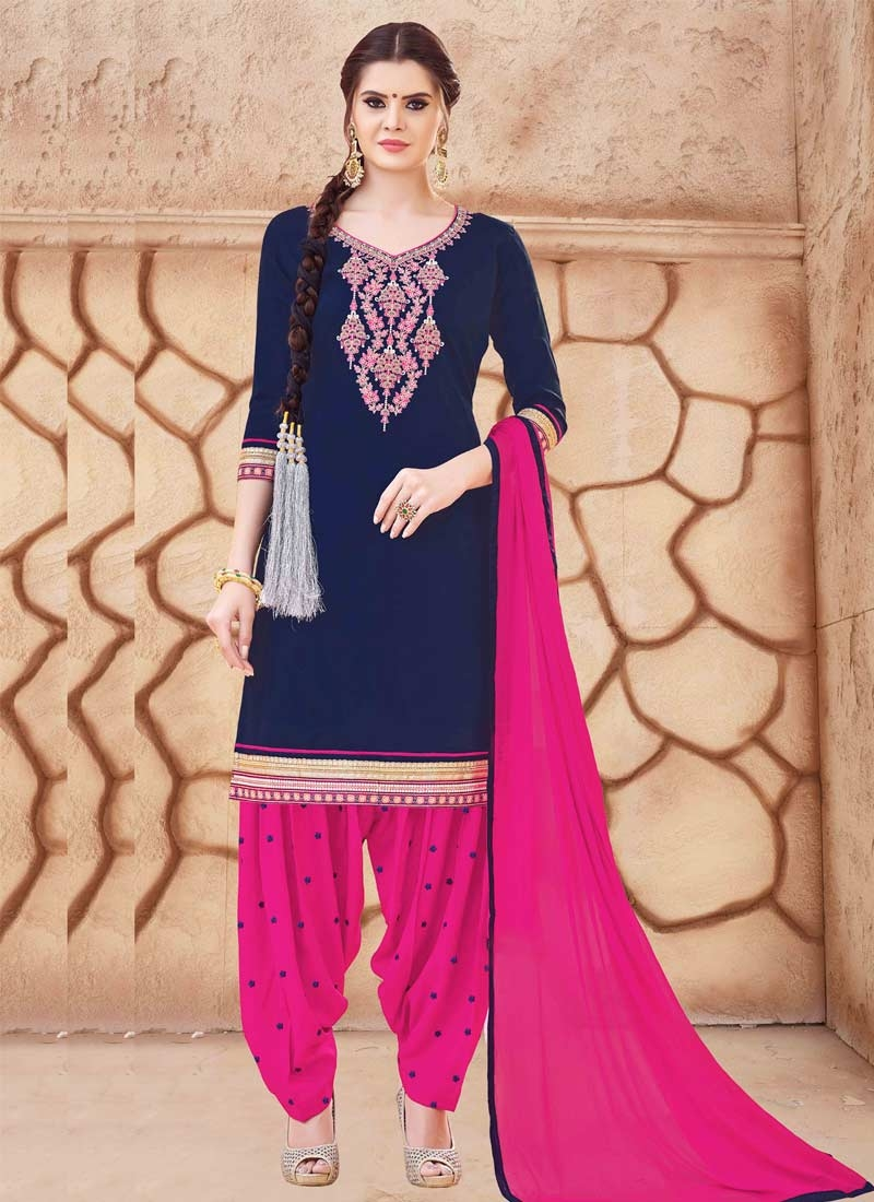 e3b92c479b Buy Navy Blue and Rose Pink Semi Patiala Salwar Suit For Festival Online