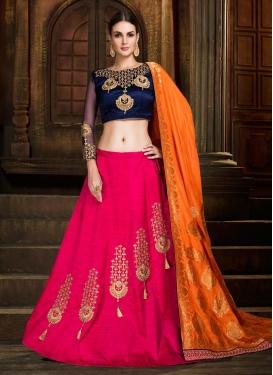 Navy Blue and Rose Pink Silk Designer Classic Lehenga Choli For Festival