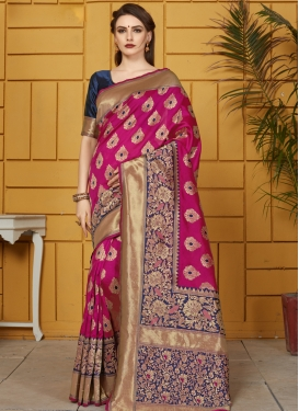 Navy Blue and Rose Pink Thread Work Contemporary Style Saree