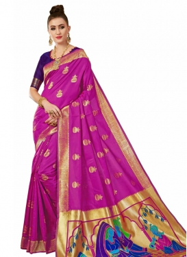 Navy Blue and Rose Pink Thread Work Traditional Designer Saree