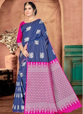Navy Blue and Rose Pink Thread Work Traditional Saree