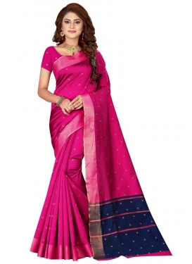 Navy Blue and Rose Pink Thread Work Trendy Classic Saree