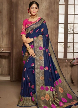 Navy Blue and Rose Pink Traditional Designer Saree