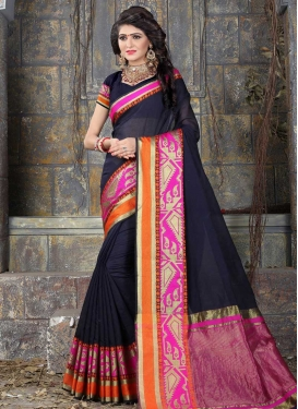 Navy Blue and Rose Pink Traditional Designer Saree For Casual