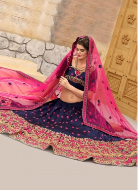Navy Blue and Rose Pink Trendy A Line Lehenga Choli For Festival