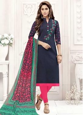 Navy Blue and Rose Pink Trendy Churidar Salwar Kameez For Casual