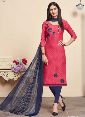 Navy Blue and Rose Pink Trendy Churidar Salwar Suit