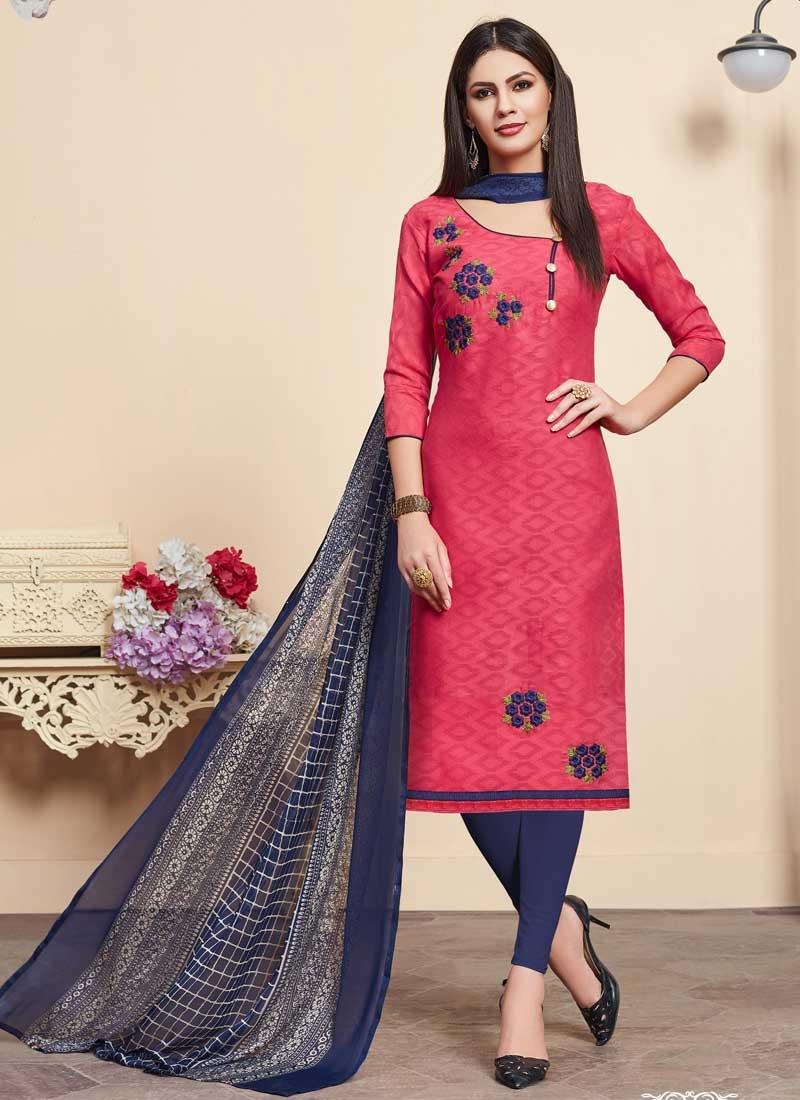 Navy Blue and Rose Pink Trendy Churidar Salwar Suit