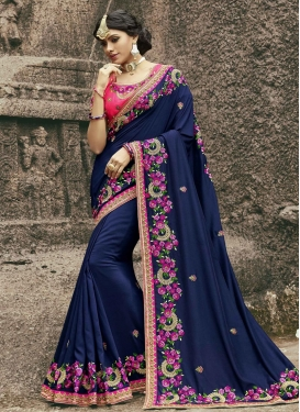 Navy Blue and Rose Pink Trendy Classic Saree