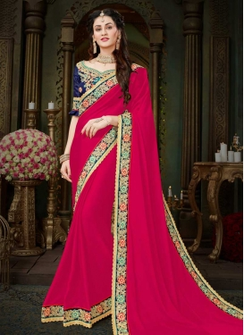 Navy Blue and Rose Pink Trendy Saree For Ceremonial