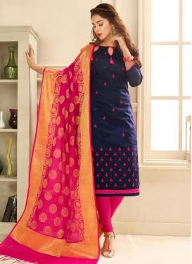 Navy Blue and Rose Pink Trendy Straight Salwar Kameez