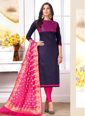 Navy Blue and Rose Pink Trendy Straight Salwar Kameez For Casual