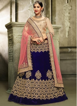 Navy Blue and Salmon A - Line Lehenga