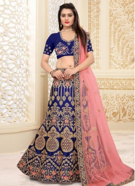Navy Blue and Salmon Art Silk A Line Lehenga Choli