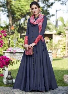 Navy Blue and Salmon Beads Work Long Length Designer Suit