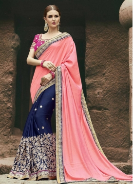 Navy Blue and Salmon Half N Half Trendy Saree