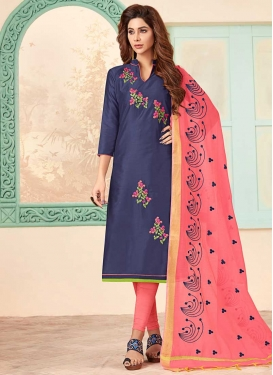 Navy Blue and Salmon Trendy Churidar Suit For Casual