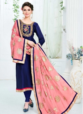 Navy Blue and Salmon Uppada Silk Trendy Pakistani Salwar Kameez