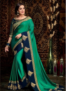 Navy Blue and Sea Green Booti Work Designer Contemporary Style Saree
