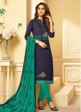 Navy Blue and Sea Green Churidar Suit