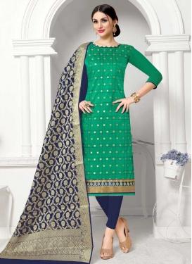 Navy Blue and Sea Green Cotton Trendy Churidar Salwar Kameez