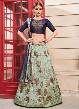 Navy Blue and Sea Green Crystal Work Trendy Lehenga Choli
