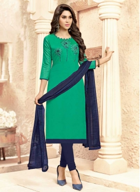 Navy Blue and Sea Green Embroidered Work Churidar Salwar Suit