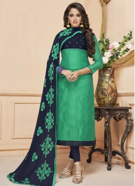 Navy Blue and Sea Green Embroidered Work Cotton Silk Trendy Churidar Salwar Suit