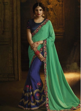 Navy Blue and Sea Green Faux Georgette Half N Half Designer Saree