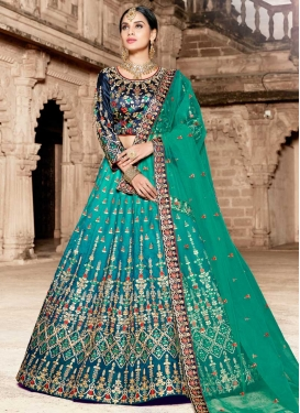 Navy Blue and Sea Green  Satin A Line Lehenga Choli