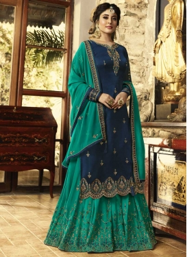 Navy Blue and Sea Green Sharara Salwar Suit