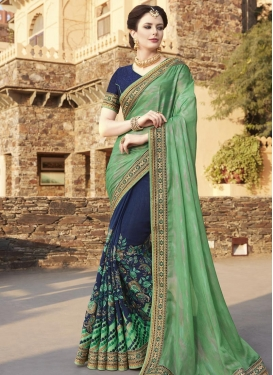 Navy Blue and Sea Green Silk Georgette Half N Half Designer Saree For Festival