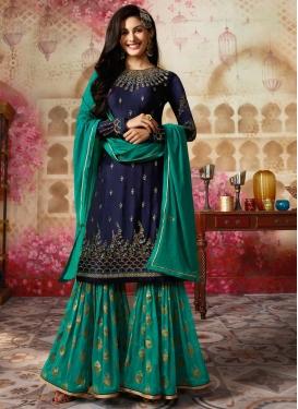 Navy Blue and Sea Green Silk Georgette Sharara Salwar Kameez