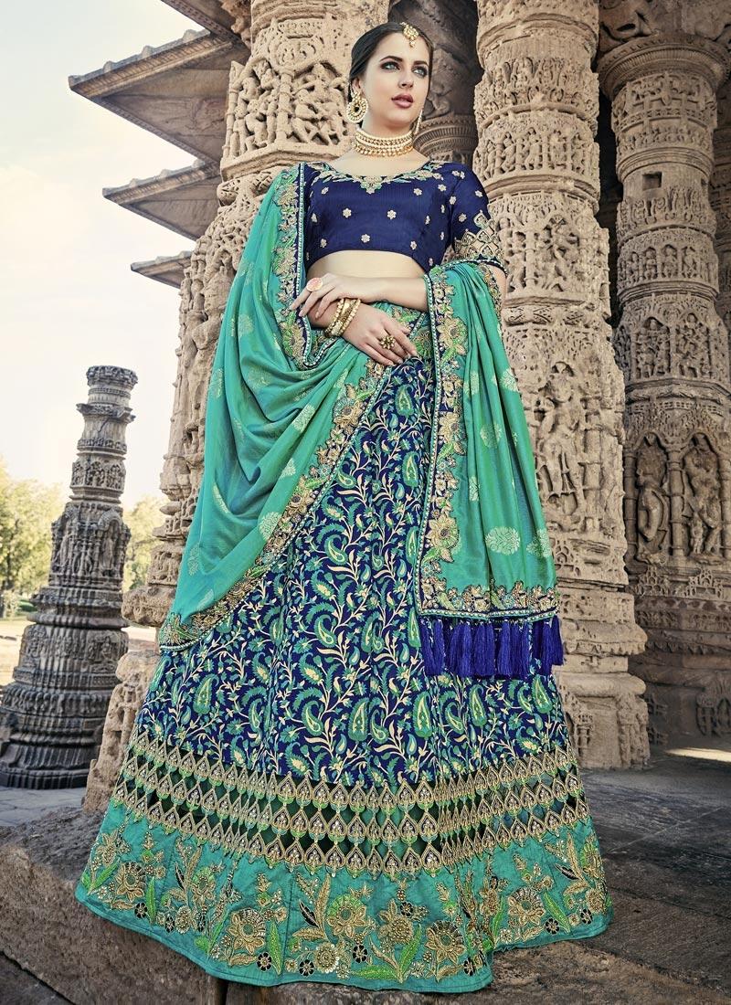 Navy Blue and Sea Green Silk Trendy Lehenga Choli